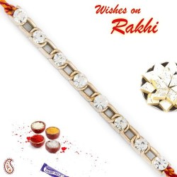 Chain Style AD Studded Bracelet Rakhi