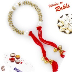 AD & Pearl Studded Bracelet Lumba with Bells & Hanging Red Thread