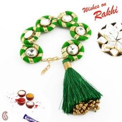 AD Stud Green Gota Traditional Lumba Rakhi with Golden Beads