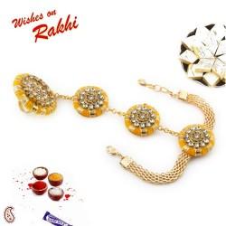 AD Stud Yellow Gota Traditional Lumba Rakhi with Golden Beads