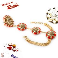 AD Stud Red Gota Traditional Lumba Rakhi with Golden Beads