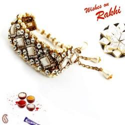 American Diamond and Pearl Bangle Style Lumba Rakhi