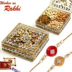 Floral Design Jaal Pattern Dry Fruit Box with Rakhi Hamper
