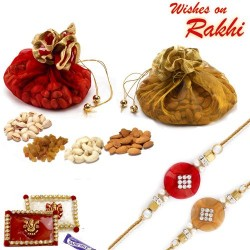 Colorful Pouches with Assorted Dryfruits and Bhaiya Rakhi
