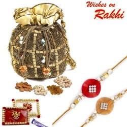 Golden Crystal Studded Dry Fruit Pouch and Rakhi Hamper