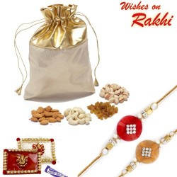 Golden Leatherite Dry Fruit Pouch with Rakhi