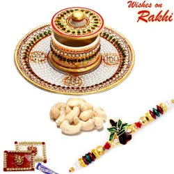 Hand Painted Marble Container with Cashew and Bhaiya Rakhi