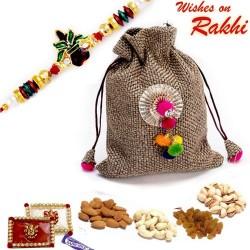 Grey Dryfruit Pouch Bag with 1 Bhaiya Rakhi