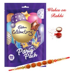 Cadbury Celebrations Party Pack with Rudraksh and AD Studded Rakhi