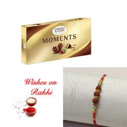 Ferrero Rocher Moments Box with Handcrafted Rudraksh Rakhi