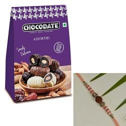 CHOCODATE Box with Beads & AD Embellished Rudraksh Rakhi