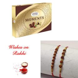 Ferrero Rocher Moments Box with Set of 2 Rudraksh & Beads Rakhi