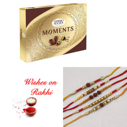 Ferrero Rocher Moments Box with Set of 5 Rudraksh, Pearls, AD and Beads Rakhi