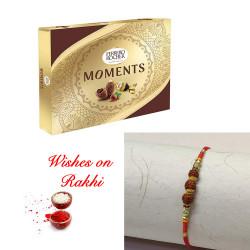 Ferrero Rocher Moments Box with Traditional Rudraksh Rakhi