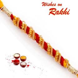 Elegant Spiral Gotta Work Embellished Rakhi