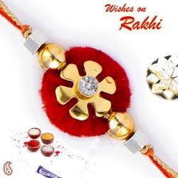 Floral Shape Crystal Stone Mauli Thread Rakhi