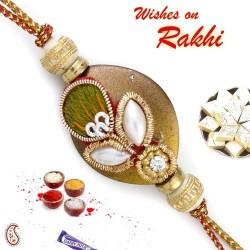 Amazing Rakhi with Pearl & Zardosi work