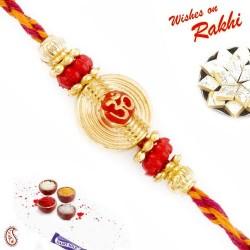 Golden Circular Base OM Mauli Rakhi