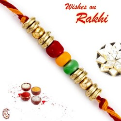 Colorful Circular Beads Mauli Thread Rakhi