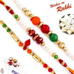 Set of 3 Colourful Beads Rakhi