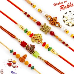 Set of 5 Charming Multicolor Beads Studded Divine Rakhi