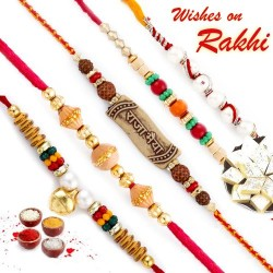 Set of 5 Colourful Round Beads Studded Thread Rakhi