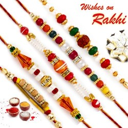 Set of 5 Multicolor Beads Rakhi