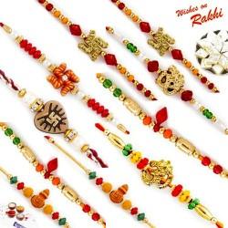 Set of 10 Divine Rakhi with Tilak Pack