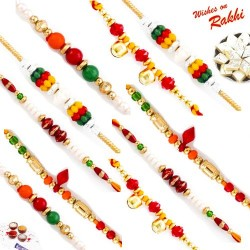 Set of 10 Handcrafted Coloured Beads Rakhi with Tilak Pack