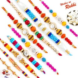 Set of 10 Colourful Beads and Stone Rakhi with Tilak Pack