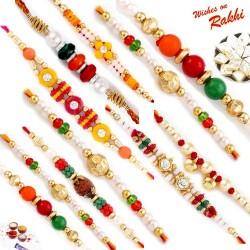 Set of 10 Multicolor Beads Rakhi with Tilak Pack