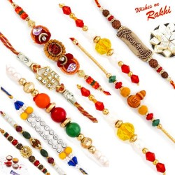 Set of 10 Multicolor Traditional Rakhis with Tilak Pack