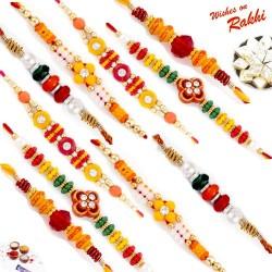 Set of 10 Beaded Rakhi with Tilak Pack