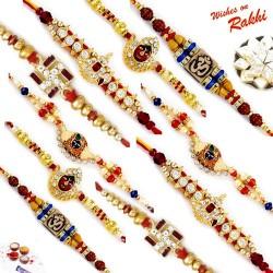 Set of 10 Divine Multicolor Rakhi with Tilak Pack
