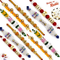 Set of 10 Charming Multicolor Rakhis with Tilak Pack