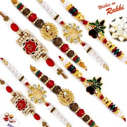 Set of 10 Traditional Holy Rakhis with Tilak Pack