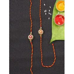 Set of 2 Flower Shape Handcrafted Bhaiya Rakhi in Red and Orange