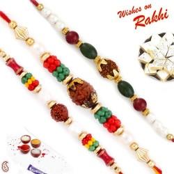 Set of 3 Coloured Beads Rudraksh Rakhi Set