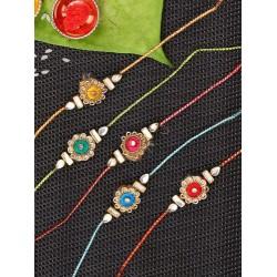Set of  5 Traditional Thread Work Handcrefted Rakhis
