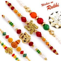 Set of 5 Colourful Beads Divine Rakhi