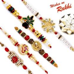 Set of 5 Hancrafted Divine OM & Kalash Rakhis
