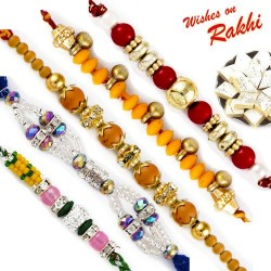 Set of 5 Multicolor Hancrafted Rakhis