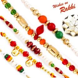 Set of 5 Colourful Beads Rakhi