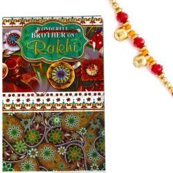 Multicolor Rakhi Card with Message & Rakhi