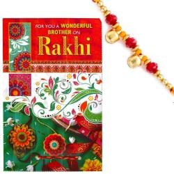 Beautifully Designed Rakhi Card with Message & Rakhi