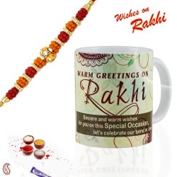 Light Green Raksha Bandhan Message Mug with Rakhi & Tilak