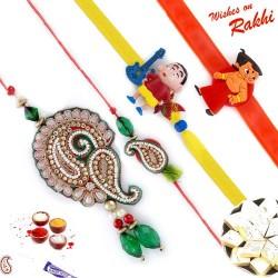 Beautiful Zardosi work Family Rakhi Set with Chhota Bheem & Shinchan Kids Rakhis