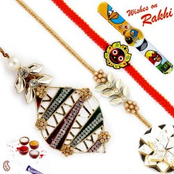 Red and Green Base AD Studded Family Rakhi Set