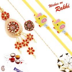 Pearl Hanging Metallic Family Rakhi Set with 2 Kids Rakhis