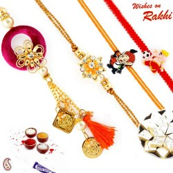 Traditional Metal Filigree work Family Rakhi Set with 2 Kids Rakhis